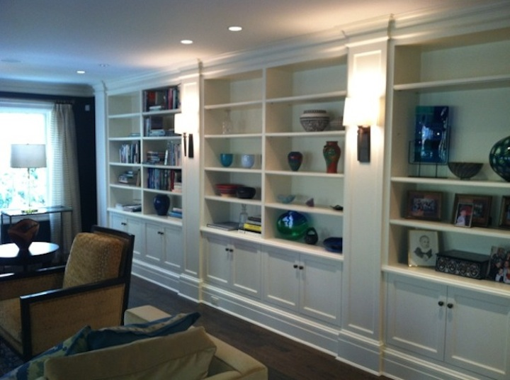 White Shelving Family Room