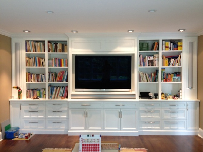 Gallery Full Wall Entertainment Bookshelf White Multimedia Shelving